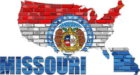 Missouri on a brick wall - Illustration, Font with the Missouri flag,  Missouri map on a brick wall
