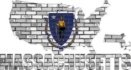 Massachusetts on a brick wall - Illustration, Font with the Massachusetts flag,  Massachusetts map on a brick wall