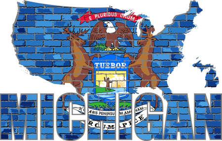 Michigan on a brick wall - Illustration, Font with the Michigan flag,  Michigan map on a brick wall Иллюстрация