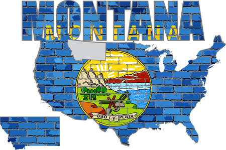 Montana on a brick wall - Illustration, Font with the Montana flag,  Montana map on a brick wall.