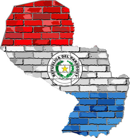 Paraguay map on a brick wall - Illustration,   Paraguayan map with flag inside