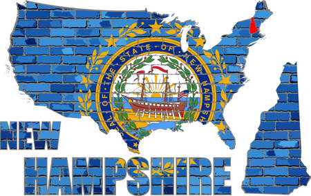 New Hampshire on a brick wall - Illustration, Font with the New Hampshire flag,  New Hampshire map on a brick wall