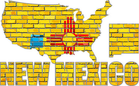 New Mexico on a brick wall - Illustration, Font with the New Mexico flag,  New Mexico map on a brick wall