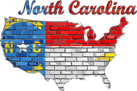 North Carolina on a brick wall - Illustration, Font with the North Carolina flag,  North Carolina map on a brick wall Иллюстрация