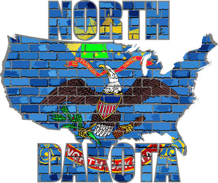 North Dakota on a brick wall - Illustration, Font with the North Dakota flag,  North Dakota map on a brick wall Illustration