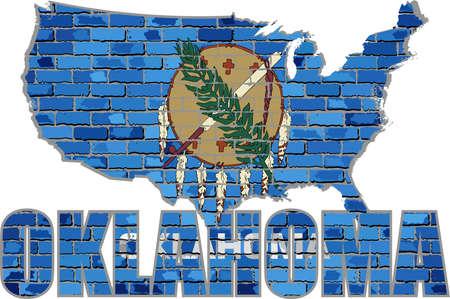 Oklahoma on a brick wall - Illustration, Font with the Oklahoma flag,  Oklahoma map on a brick wall