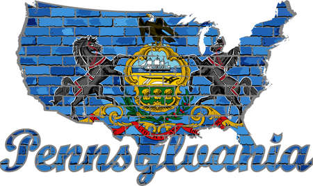 Pennsylvania on a brick wall - Illustration, Font with the Pennsylvania flag,  Pennsylvania map on a brick wall
