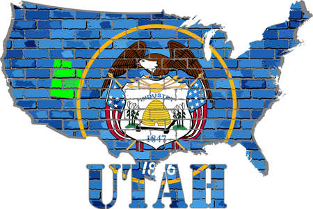 Utah on a brick wall - Illustration, Font with the Utah flag,  Utah map on a brick wall