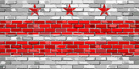 district of columbia: Flag of Washington, D.C. on a brick wall - Illustration,  The flag of the state of Washington, D.C. on brick textured background,  Washington, D.C. Flag in brick style