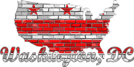 Washington, D.C. on a brick wall - Illustration, Font with the Washington, D.C. flag,  Washington, D.C. map on a brick wall