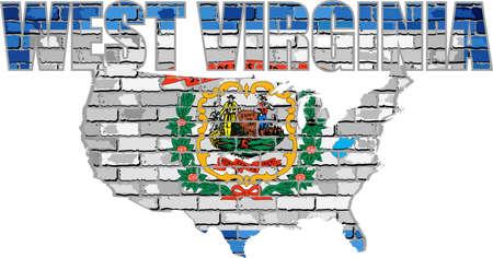 West Virginia on a brick wall - Illustration, Font with the West Virginia flag,  West Virginia map on a brick wall
