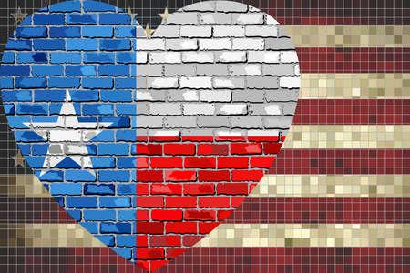 アメリカ合衆国、テキサス州フラグ - 図では、米国およびテキサスの混合フラグ  イラスト・ベクター素材