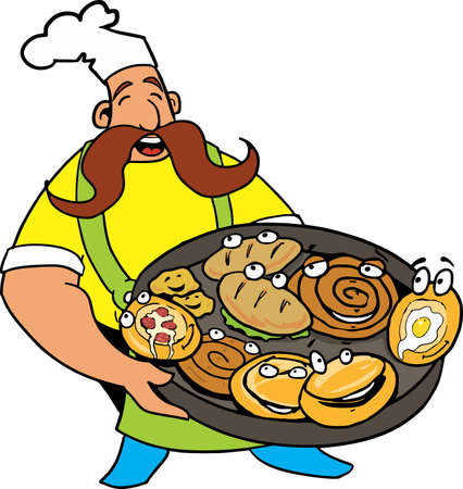 Comic cook with pizza and pie in the hands,  Pizzas and pies with funny face
