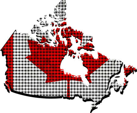 mosaic: Canada grunge map with flag inside - Illustration,  Canadian flags and map in mosaic,   Abstract grunge mosaic vector Illustration
