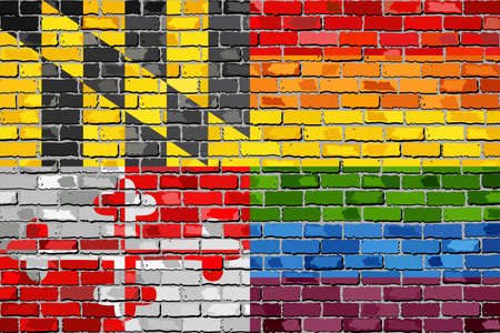 Brick Wall Maryland and Gay flags - Illustration, Rainbow flag on brick textured background,  Abstract grunge Maryland Flag and LGBT flag Illustration