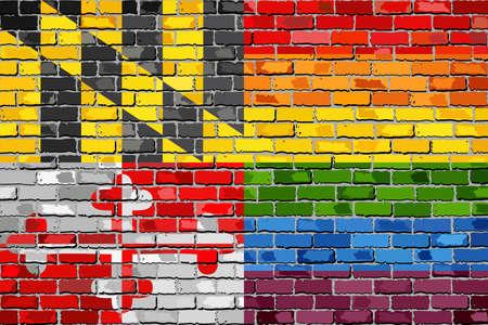 lesbienne: Mur de briques Maryland et Drapeaux Gay - Illustration, Drapeau arc-en-ciel sur fond texturé en brique, grunge grunge grunge et drapeau LGBT Illustration
