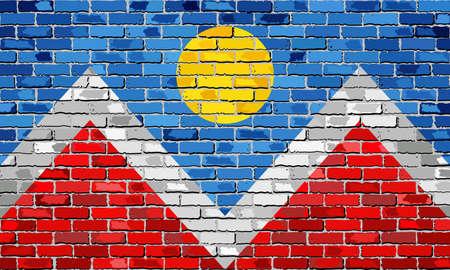 レンガ壁のコロラド州とゲイ フラグ - 図では、レンガの虹の旗テクスチャ背景、抽象的なグランジ コロラド州旗、LGBT フラグ