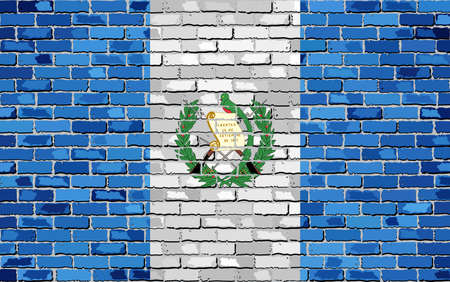 Flag of Guatemala on a brick wall - Illustration, Abstract grunge background vector