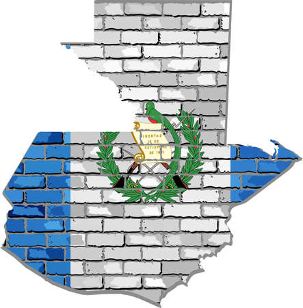 Guatemala map on a brick wall - Illustration,   Guatemala map with flag inside.