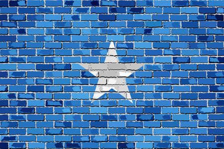 Flag of Somalia on a brick wall - Illustration,  Somalia flag on brick textured background,  Abstract grunge mosaic vector