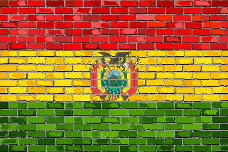 Flag of Bolivia on a brick wall - Illustration,  Abstract grunge background vector