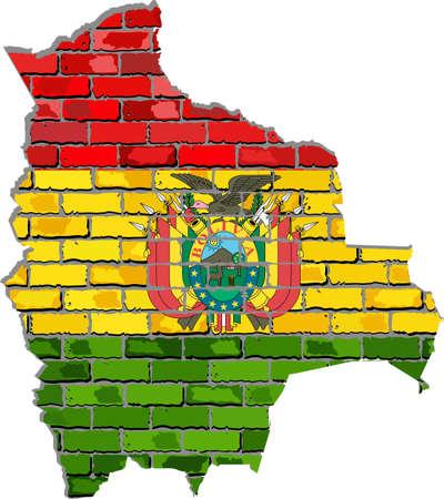 Mapa de Bolivia en una pared de ladrillo - Ilustración, mapa de Bolivia con la bandera adentro