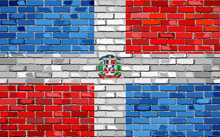 Flag of Dominican Republic on a brick wall. Ilustracja
