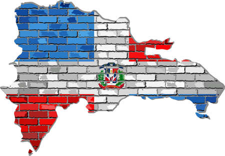 Dominican Republic map on a brick wall - Illustration,   Dominican Republic map with flag inside Çizim