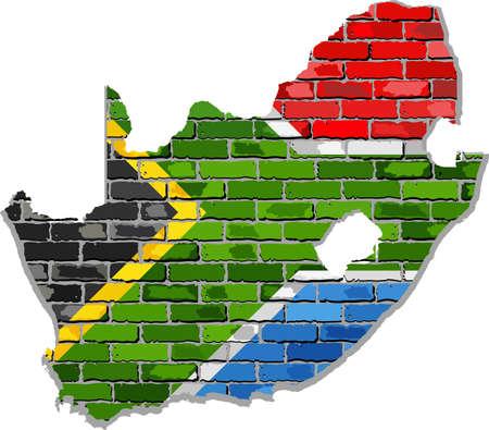 Zuid-Afrika kaart op een stenen muur - Illustratie, Zuid-Afrika kaart met vlag binnen