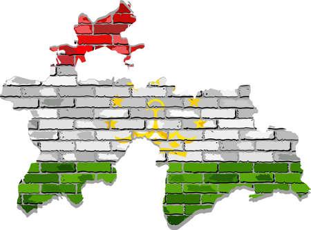 Tajikistan map on a brick wall - Illustration,   Tajikistan map with flag inside