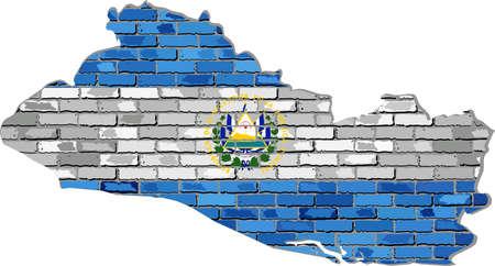 bandera de el salvador: El Salvador mapa en una pared de ladrillo - Ilustración, El Salvador mapa con la bandera interior