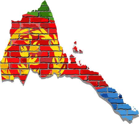 Eritrea map on a brick wall - Illustration,   Eritrea map with flag inside