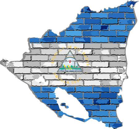 Nicaragua map on a brick wall - Illustration,   Nicaragua map with flag inside