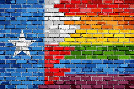 Brick Wall Texas and Gay flags - Illustration, Rainbow flag on brick textured background,  Abstract grunge Texas Flag and LGBT flag