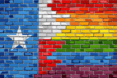 Brick Wall Texas and Gay flags - Illustration, Rainbow flag on brick textured background,  Abstract grunge Texas Flag and LGBT flag