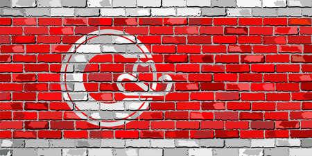 벽돌 벽 - 일러스트 레이 션, 캘거리의 상태 캘거리의 국기 벽돌 배경에 일러스트