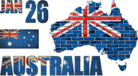 Australia map on a brick wall - Illustration,   Font with Australia flag, Australian national flag in mosaic Illustration
