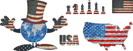 illustrated globes: USA Flag Elements Vector Collection - Illustration,   Text with USA flag, US national flag in mosaic