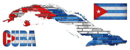 Cuba Flag Elements Vector Collection - Illustration, Text with Cuba flag, Cuba flag in mosaic.