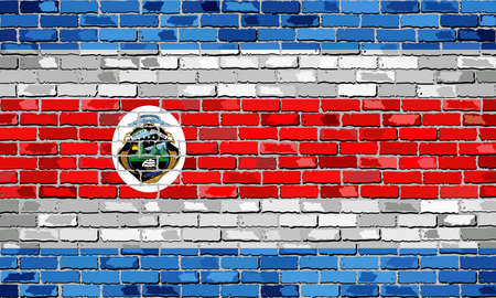 Flag of Costa Rica on a brick wall - Illustration,  Abstract grunge background vector