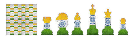Chess pieces with India flag  - Illustration, Chess Pieces Set, Chess pieces with grunge India Flags Illustration