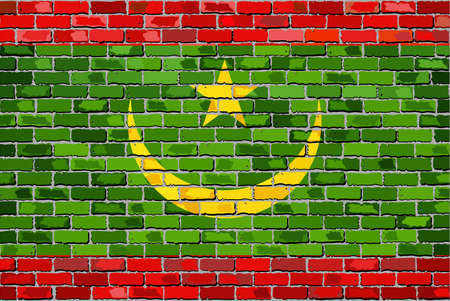 Flag of Mauritania on a brick wall