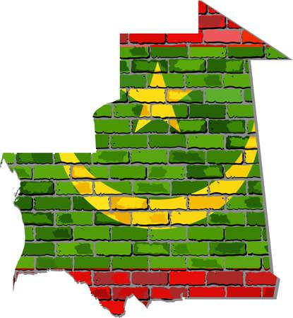 Mauritania map on a brick wall