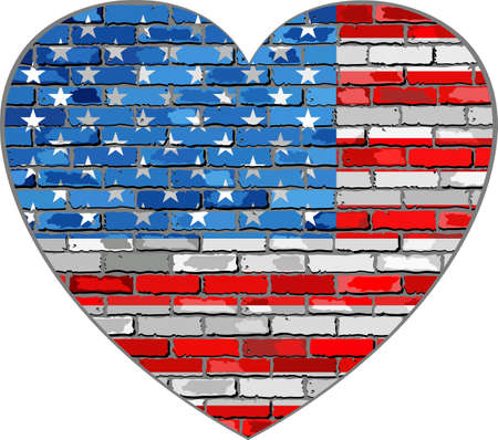 Flag of USA on a brick wall in heart shape - Illustration, United States of America flag in brick style,  Abstract grunge USA flag Иллюстрация