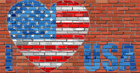 I love USA message on a brick wall - Illustration,  Flag of USA on a brick wall in heart shape Illusztráció