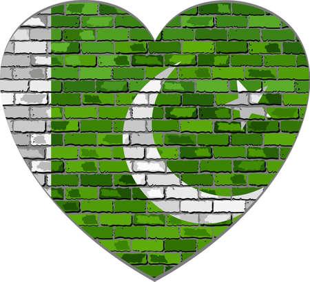 Flag of Pakistan on a brick wall in heart shape - Illustration, Abstract grunge Pakistan flag