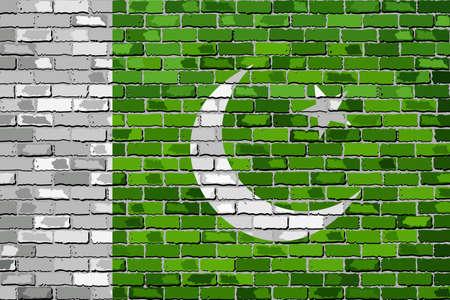 Flag of Pakistan on a brick wall - Illustration,  Pakistan flag on brick textured background