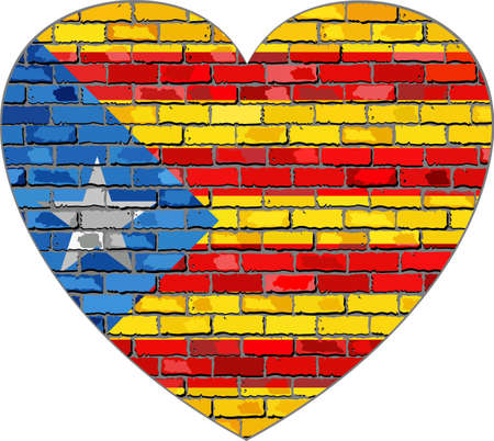 Flag of Catalonia on a brick wall in heart shape - Illustration, Abstract grunge Catalonia flag