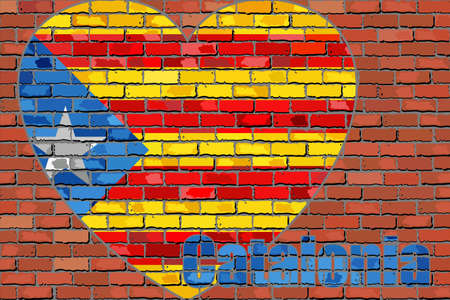 Flag of Catalonia on a brick wall in heart shape - Illustration,  Message on a brick wall