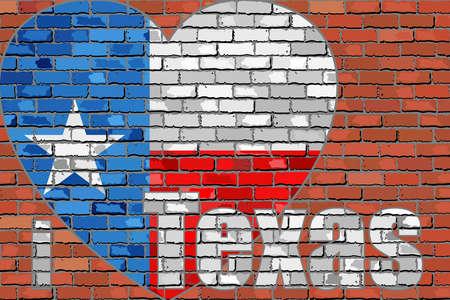 I love Texas message on a brick wall - Illustration,  Flag of Texas on a brick wall in heart shape. Иллюстрация
